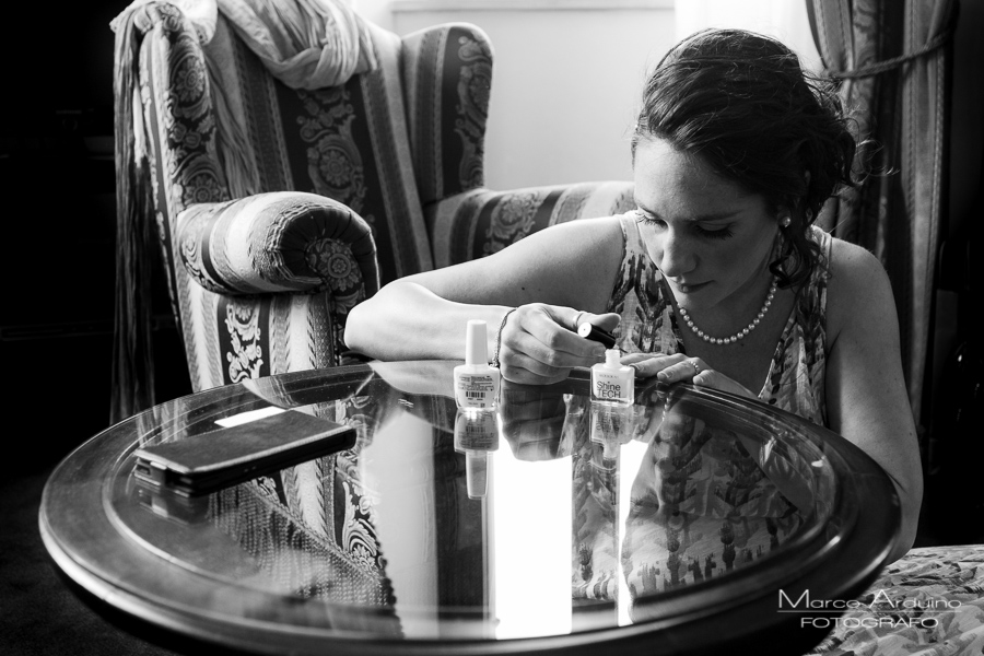 bride getting ready at grand hotel majestic verbania lake maggiore italy