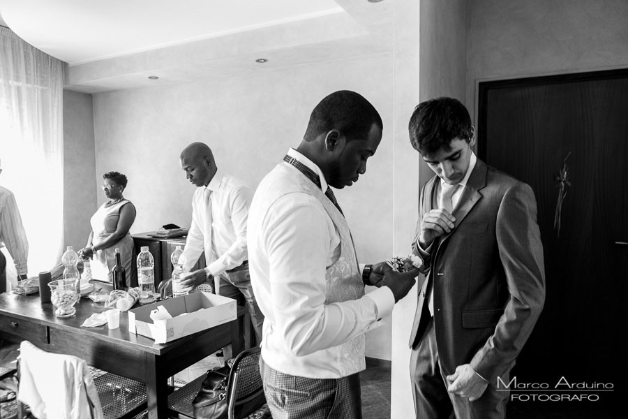 groom getting ready italian lake