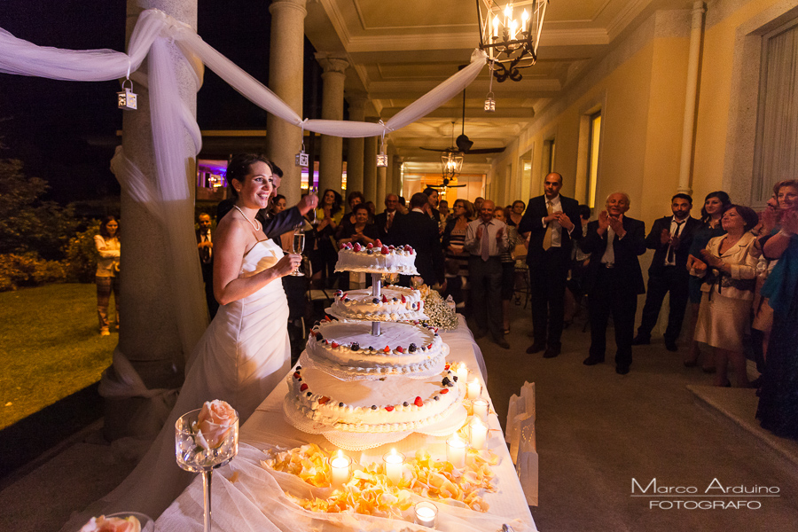 Wedding cake cutting at grand hotel majestic Lake Maggiore Italy